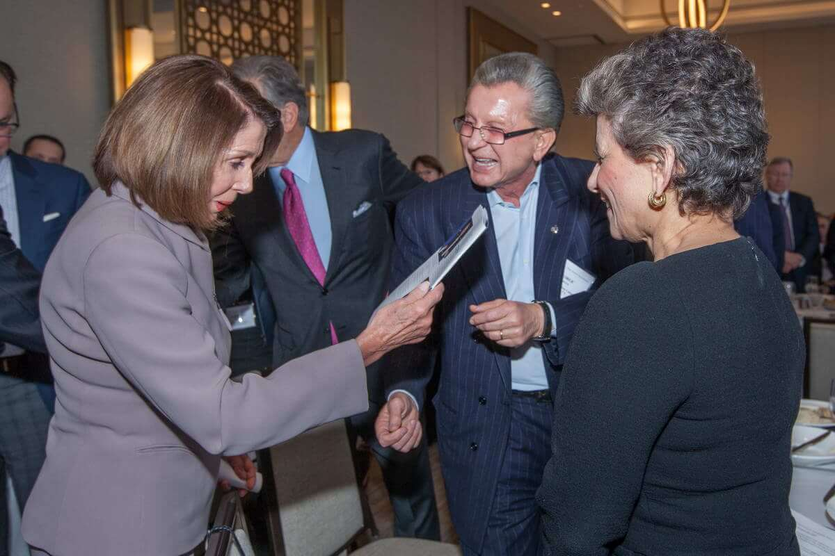 Speaker of the House Nancy Pelosi (D-CA), George Marcus (Marcus & Millichap Company), and Roundtable Chair Debra A. Cafaro (Ventas, Inc.)