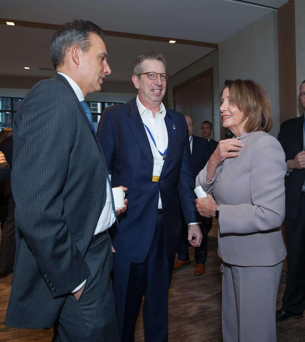 Christoph Donner (Allianz Real Estate of America), William C. Rudin (Rudin Management Company, Inc.), and Speaker of the House Nancy Pelosi (D-CA)