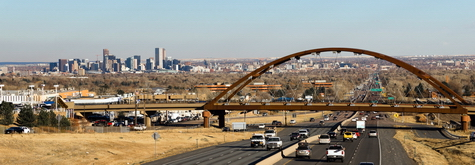 Infrastructure public transit bridge outside Denver CO